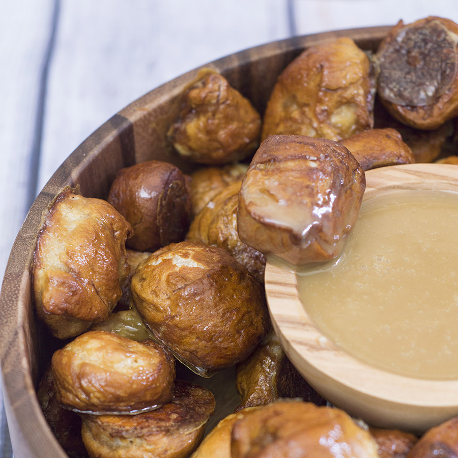 Pretzel bites with honey mustard dip are a versatile snack for kids of all ages. Enjoy a few any time you need a sweet-and-salty snack! #ProgressiveEats TheRedheadBaker.com