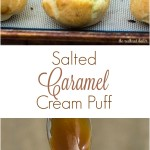Sweet cream puffs are filled with salted caramel pastry cream, then topped with rich chocolate ganache. Finger food for dessert! #SundaySupper TheRedheadBaker.com