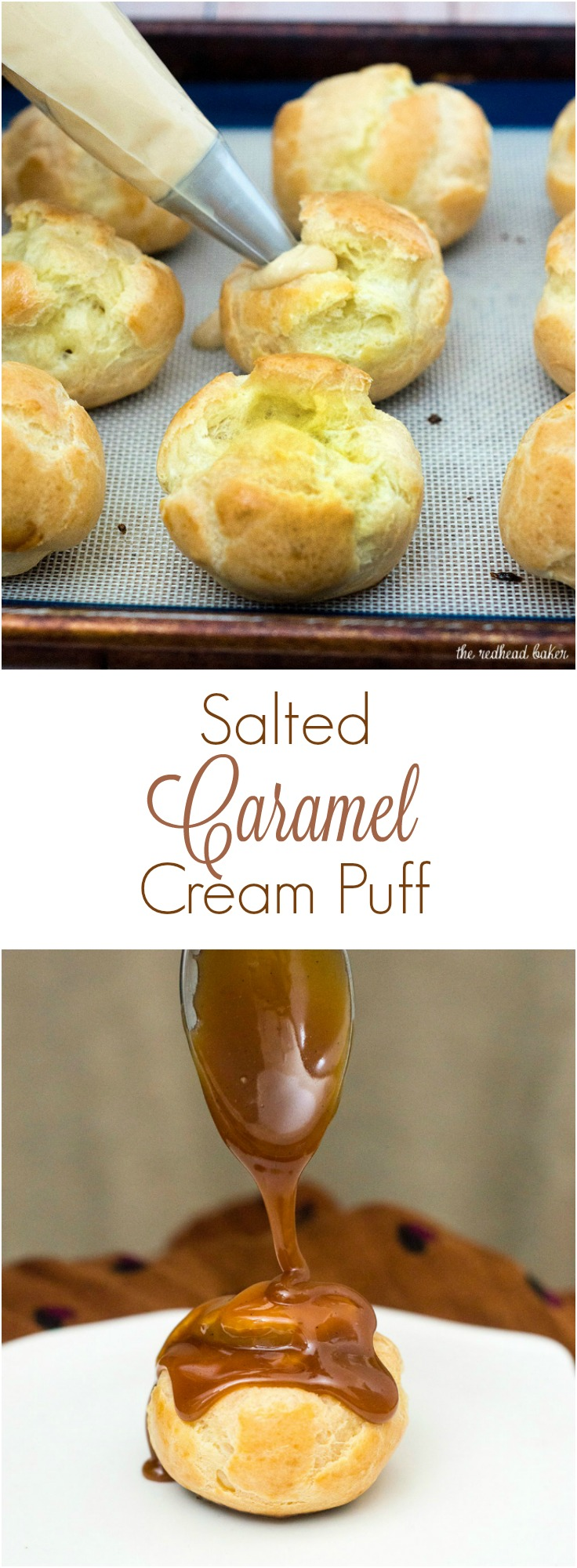 Finger food can be dessert, too! Bite-size salted caramel cream puffs are the perfect balance of salty and sweet flavors. #SundaySupper TheRedheadBaker.com