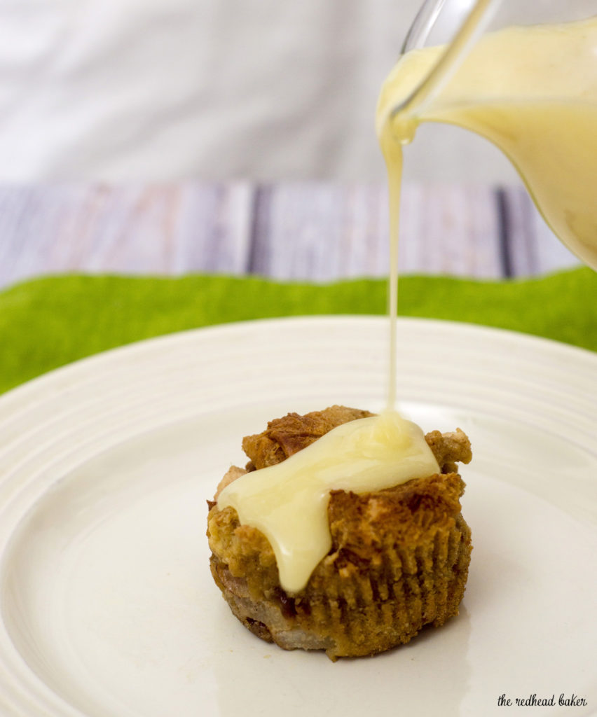 Vanilla-pear bread pudding baked in muffin tins are an easy, delicious, portion-controlled dessert. Serve warm with a drizzle of white chocolate sauce.