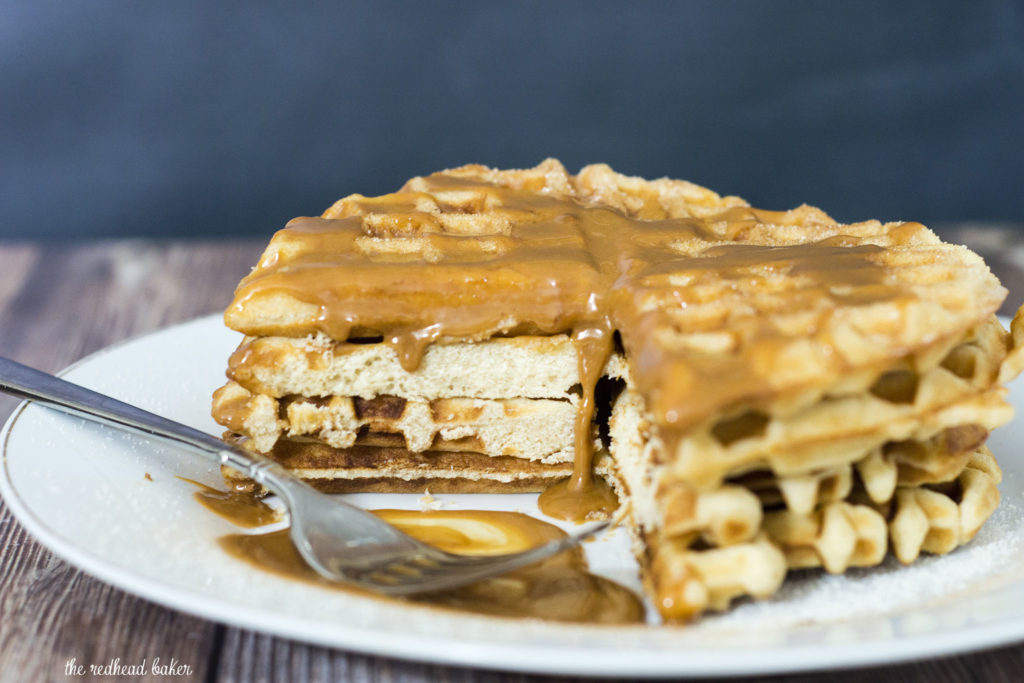 Like the Mexican pastry, churro waffles are coated in cinnamon sugar and drizzled with dulce de leche sauce. Enjoy for breakfast or dessert! #SundaySupper