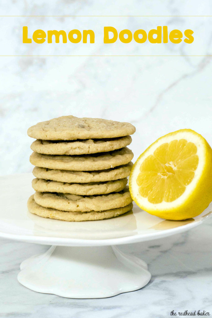 Like their cousin the snickerdoodle, lemon doodles are soft cookies with a slight crispness at their edges, thanks to a coating of sugar before baking.