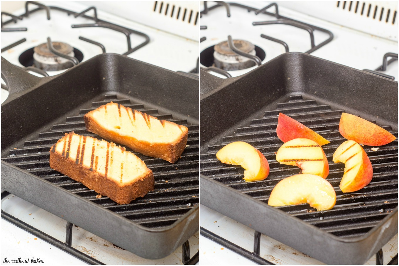 Grilled pound cake with peaches and mascarpone is a delicious summer dessert made right on the grill, the perfect ending to your cookout. #ProgressiveEats