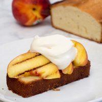 Grilled Buttermilk Pound Cake with Peaches and Mascarpone #ProgressiveEats
