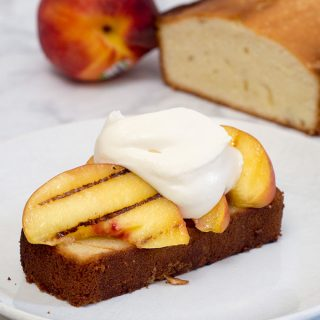 Grilled poundcake with peaches and mascarpone is a delicious summer dessert made right on the grill, the perfect ending to your cookout. #ProgressiveEats