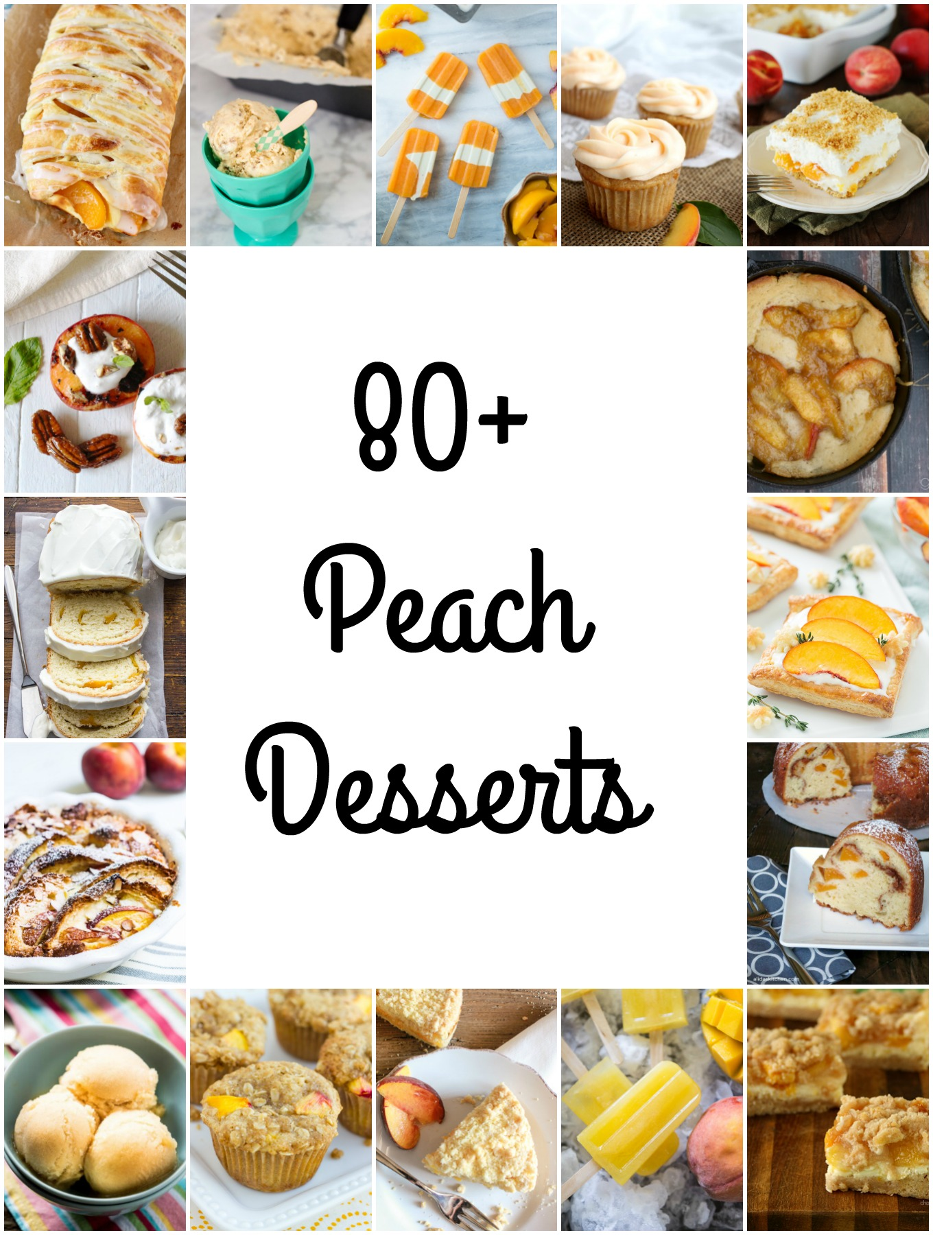 I've compiled over 80 peach dessert recipes featuring the fruit in cakes, cupcakes, cheesecakes, cookies, ice cream, pies and more for National Peach Month.