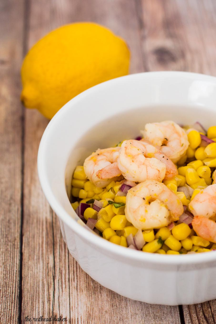 Lemon shrimp with basil corn salad by the redhead baker can dinner be both easy and healthy yes serve lemon shrimp over a salad forumfinder Gallery