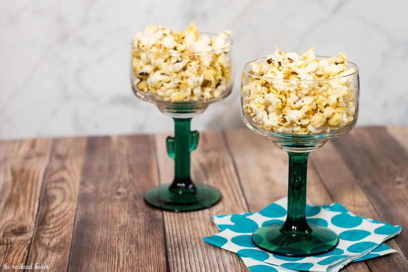 Indulge in an adult snack — margarita popcorn, coated in butter flavored with tequila and lime juice. It's so easy to make! #SundaySupper