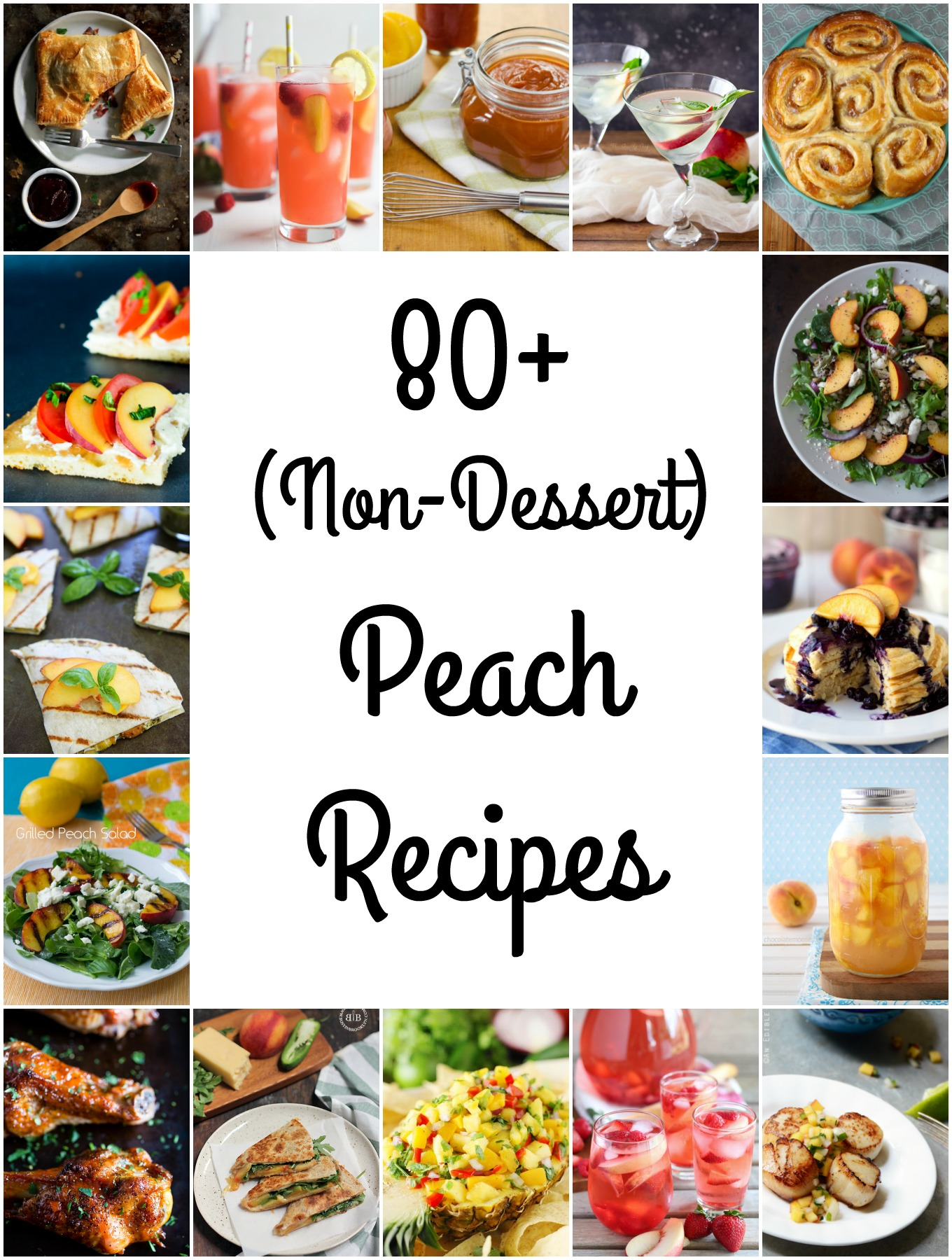 I've compiled over 80 peach recipes featuring the fruit in appetizers, breakfasts, condiments, drinks, main dishes and sides for National Peach Month.