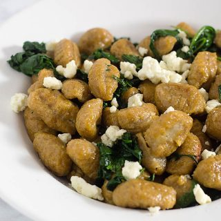 Pumpkin Gnocchi and Spinach with Sage Brown Butter Sauce #SundaySupper