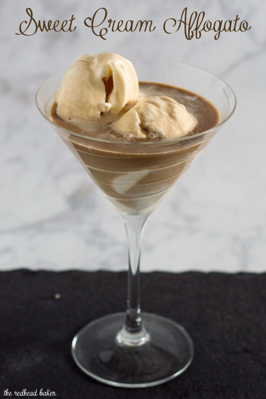 Sweet cream affogato is a simple yet decadent Italian dessert where espresso is poured over ice cream or gelato. Buon appetito!
