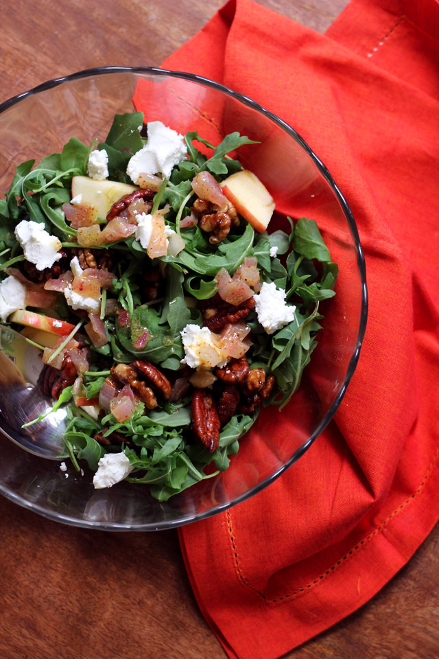 Arugula, Apple, Goat Cheese and Candied Pecan Salad with Cider Vinaigrette by Eats Well With Others