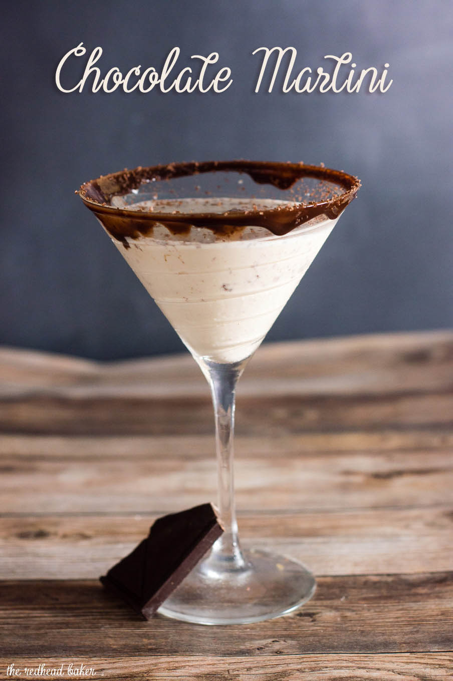 Chocoholics will love this chocolate martini, with chocolate liqueur and creme de cacao, and a double-chocolate coated martini glass rim. #Choctoberfest