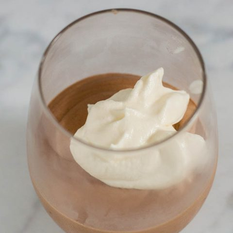 Mocha Irish Coffee Mousse is flavored with whole coffee beans, semisweet chocolate and Irish cream liqueur. It is light in texture but rich in flavor. #Choctoberfest
