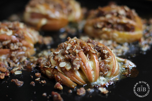 Honey Hasselback Baked Apples with Brie & Pecan Streusel by Busy in Brooklyn
