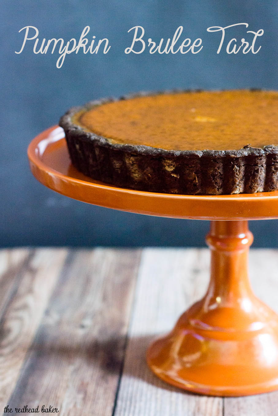 Move over, classic pumpkin pie! Pumpkin brulee tart has a spiced pumpkin custard filling baked in a dark chocolate tart shell with a bruleed sugar topping. #PumpkinWeek