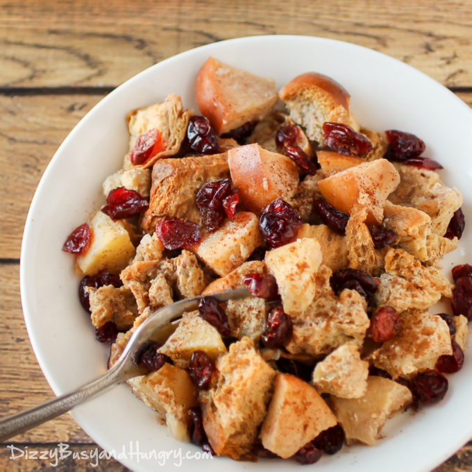 Slow Cooker Cranberry Apple French Toast by Dizzy Busy and Hungry
