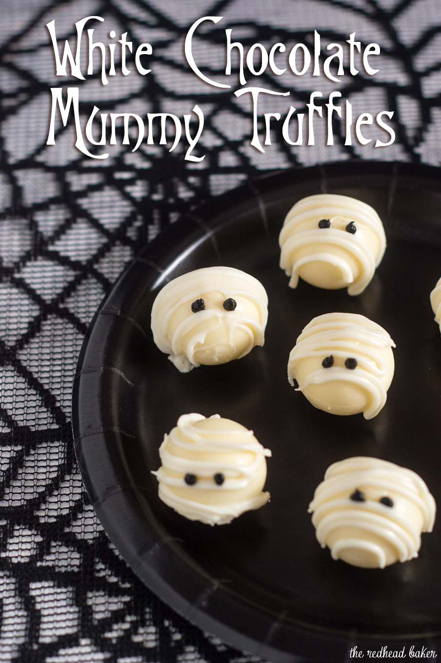 Boo! Scare your Halloween dinner or party guests with these easy-to-make white chocolate mummy truffles made with white chocolate ganache! #ProgressiveEats