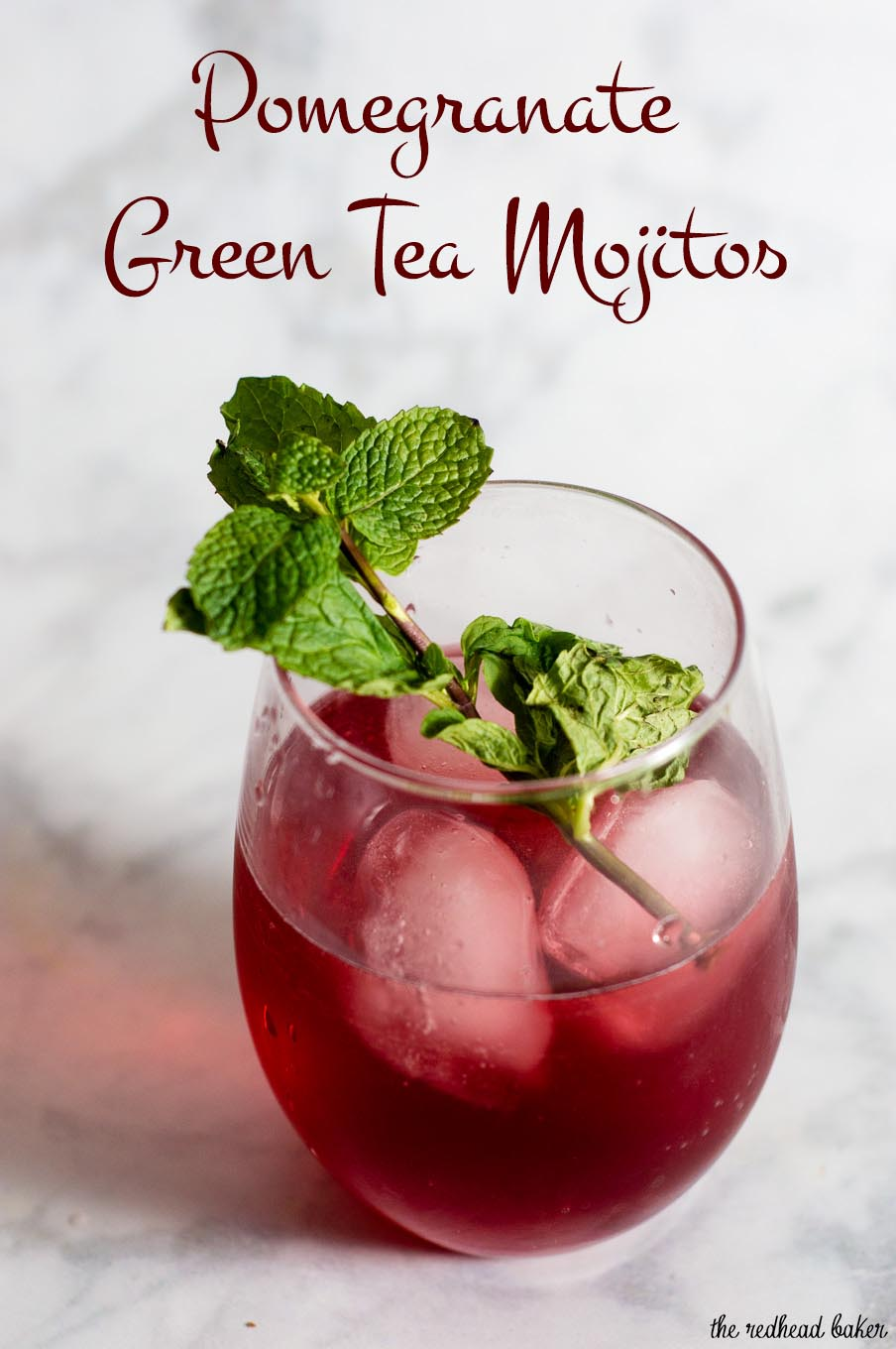 Pomegranate green tea mojitos are a Moroccan twist on a Cuban cocktail. The classic mint-and-lime drink gets an extra flavor twist from pomegranate and green tea.