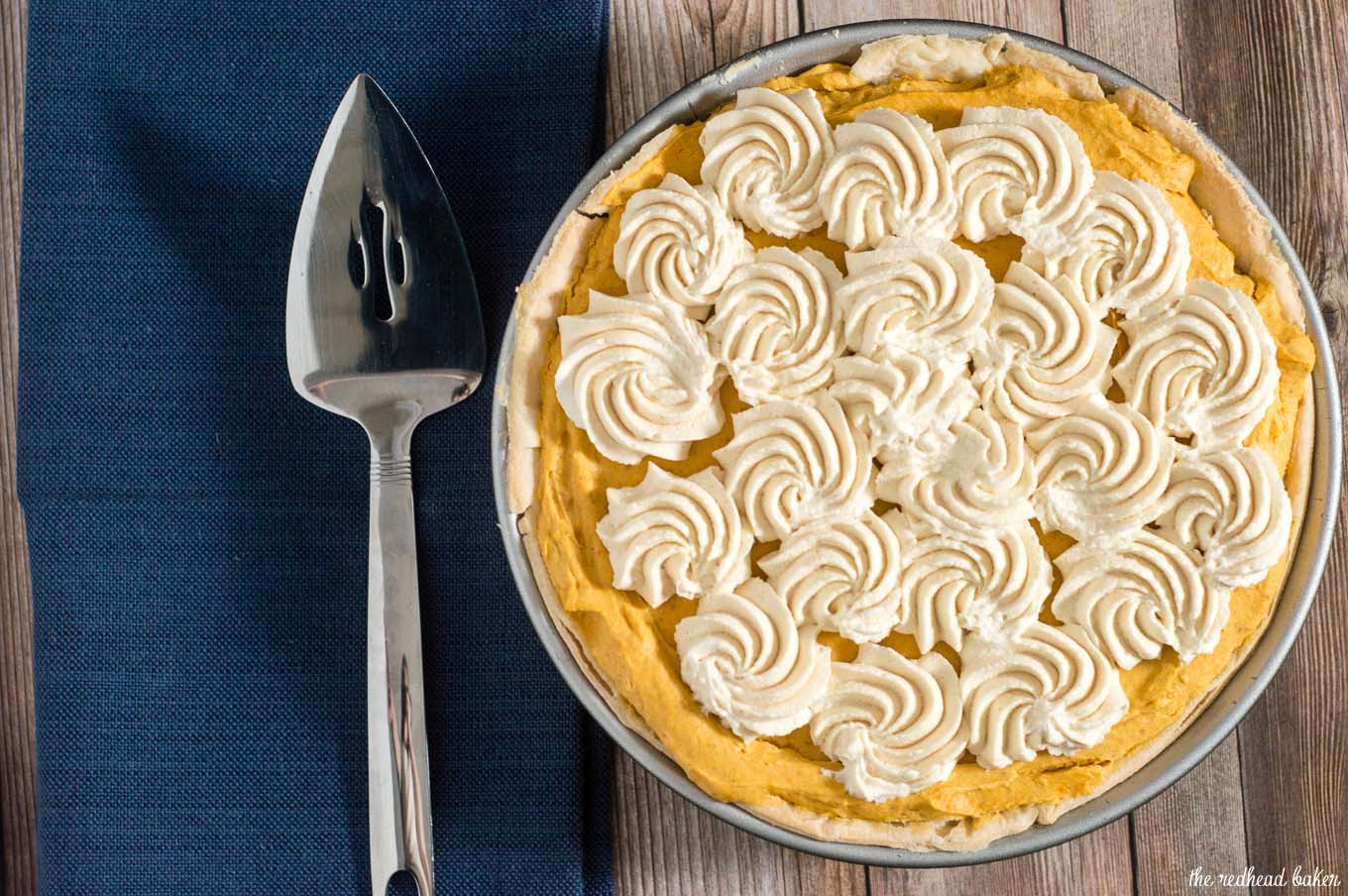 Pumpkin cream pie has all the flavor of classic pumpkin pie with a slightly different texture. It's topped with decadent salted caramel whipped cream.