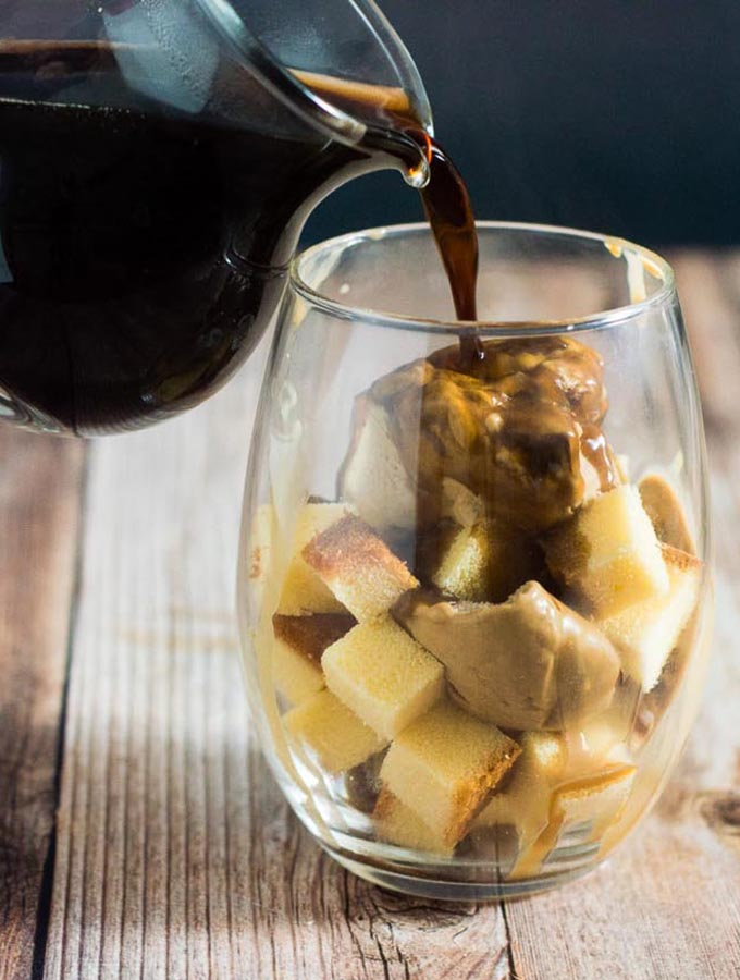 Salted Caramel Affogato Parfaits combine gelato, coffee and pound cake for a grown-up dessert with lots of different flavors and textures, perfect for any celebration.