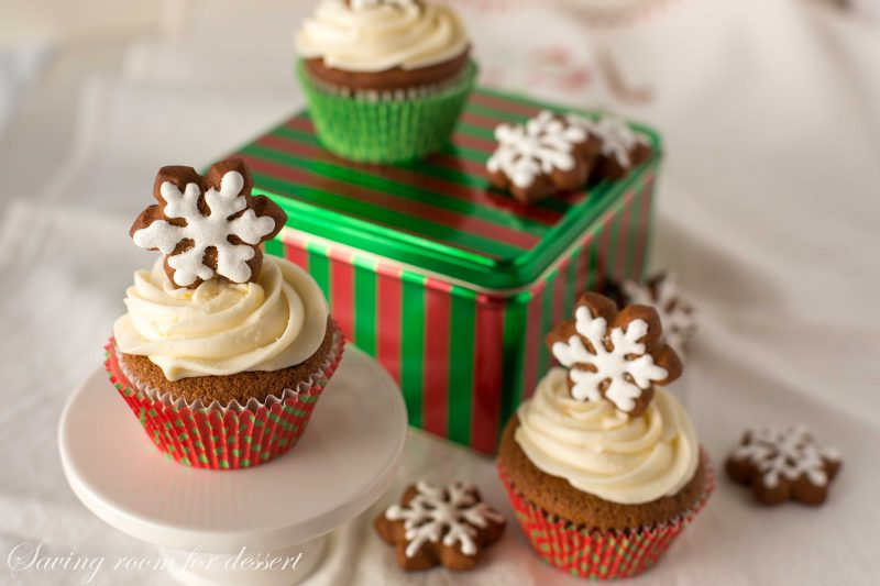Gingerbread Cupcakes with Lemon Cream Cheese Frosting by Saving Room for Dessert