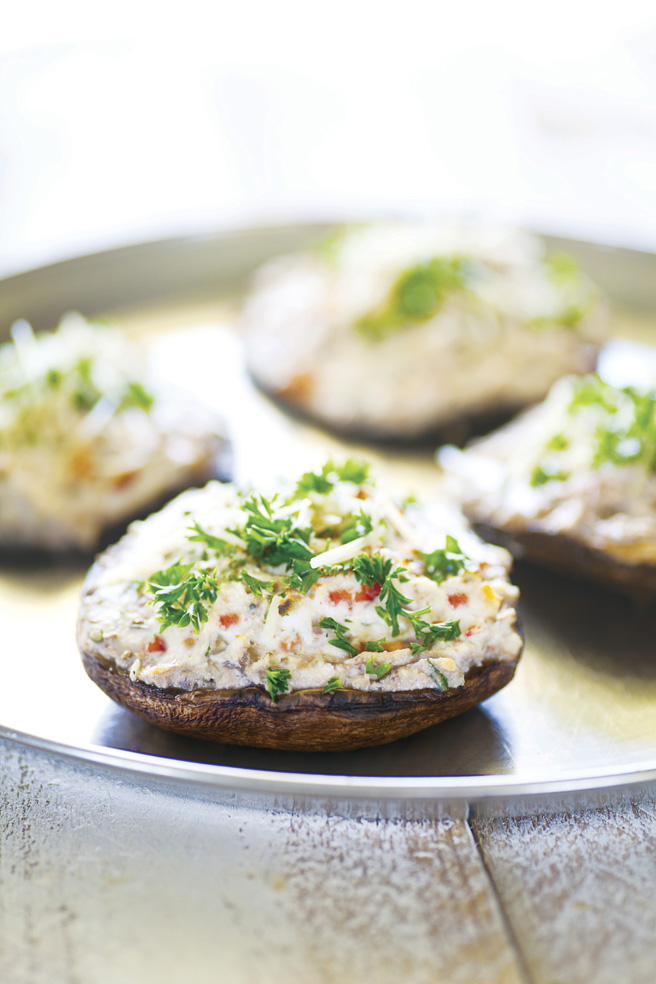 Stuffed mushrooms with lush, creamy ricotta cheese, paired with a light, fresh prosecco makes for an easy, satisfying appetizer.