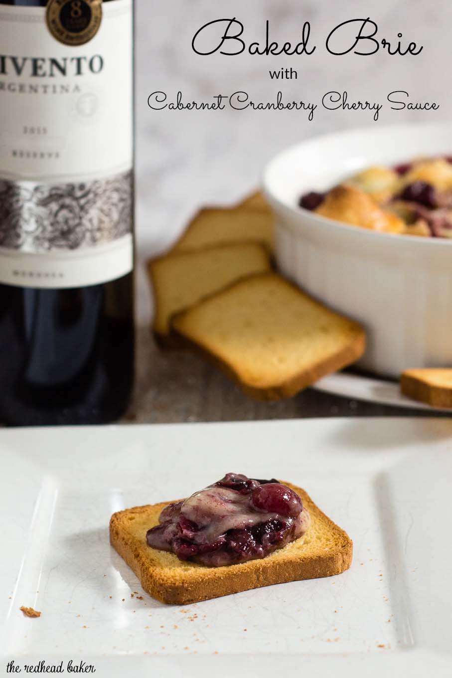 Baked brie en croute is a luxurious appetizer, and this one goes the extra mile with a flavorful cabernet cranberry cherry sauce. #ProgressiveEats