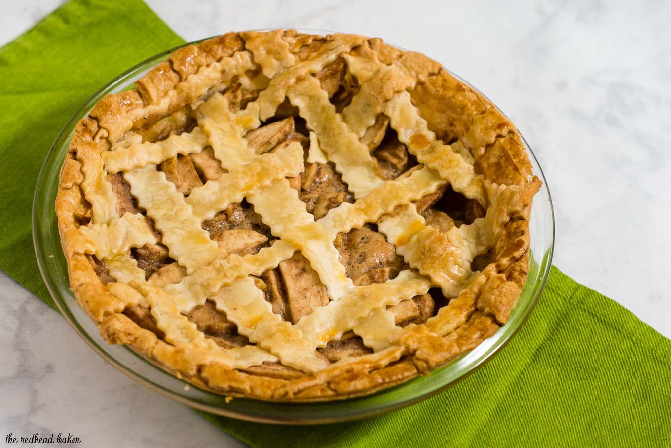 Salted caramel apple pie with a beautiful lattice crust is a delicious dessert any time of year. Make this pie ahead of time and freeze it before baking.