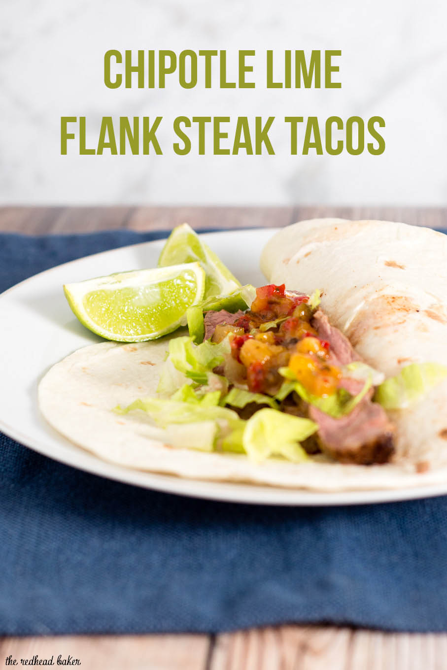 Flank steak tacos use a lean cut of beef, tenderized with a chile-lime marinade, as taco filling in soft tortillas, topped with shredded lettuce and pineapple salsa. #SundaySupper
