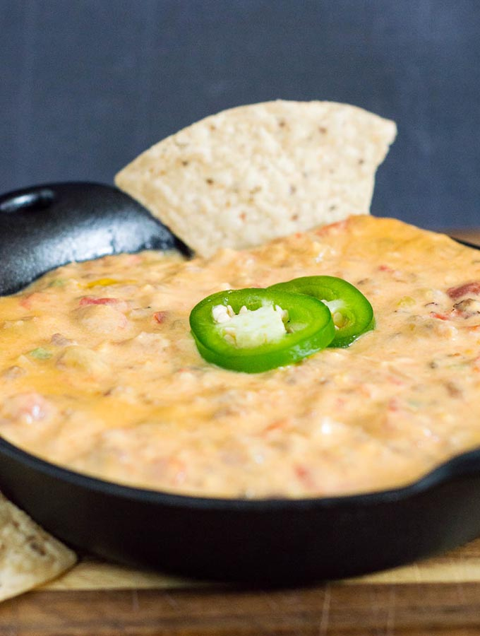 Whether it's a big game-watching party, Cinco de Mayo, or just a few friends getting together, spicy chorizo queso dip will be the hit of the party.