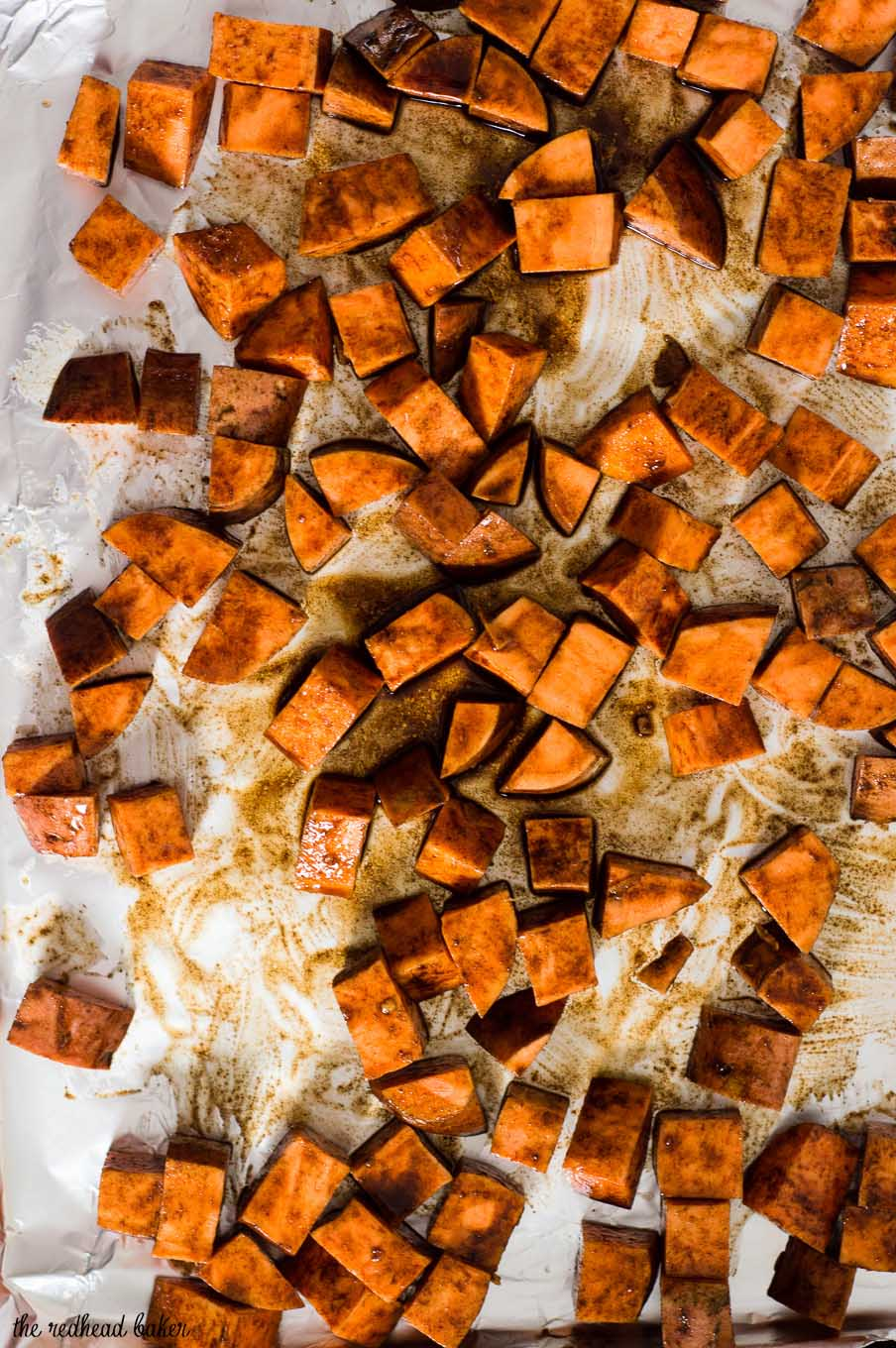 Cinnamon vanilla roasted sweet potatoes are a different, delicious way to enjoy the root vegetable. So easy and ready in 30 minutes!