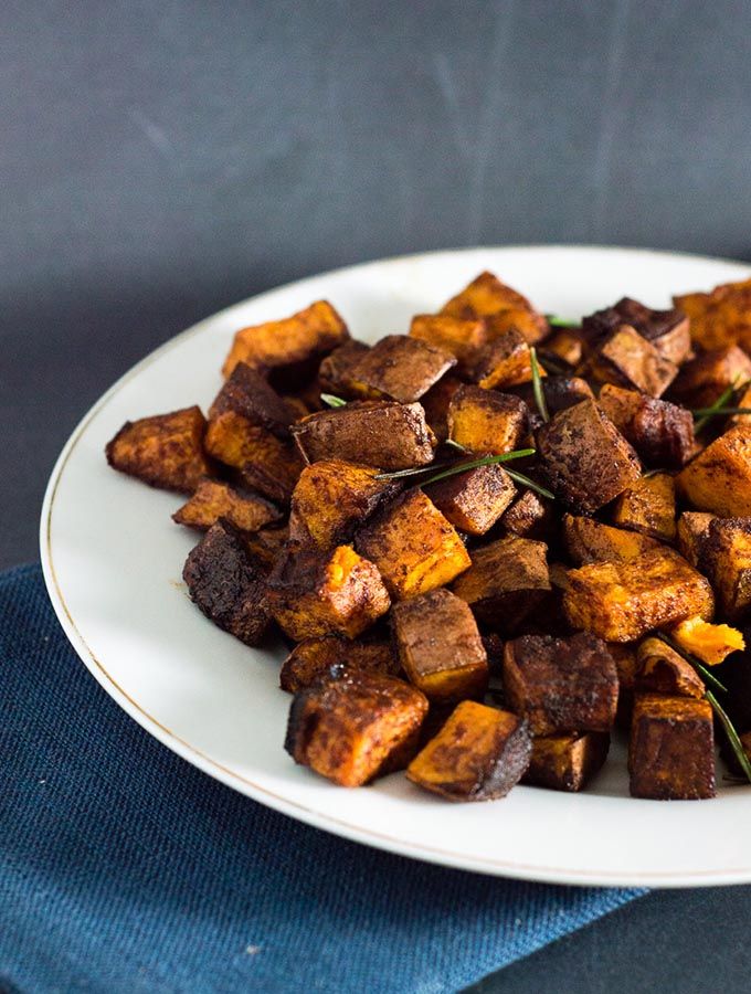Cinnamon Vanilla Roasted Sweet Potatoes