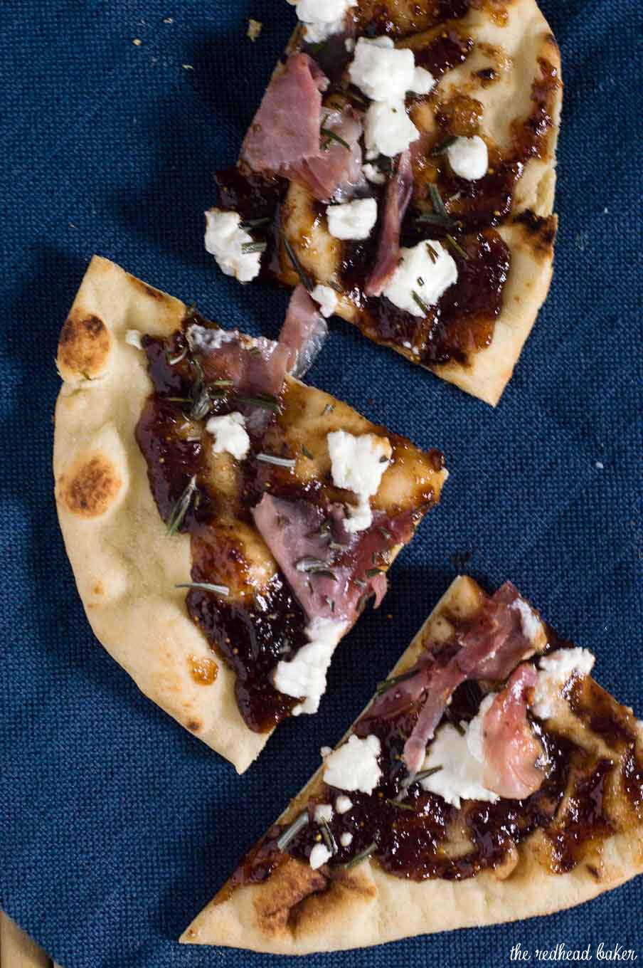 Indian flatbread makes a great crust for pizza! This na'an pizza is topped with fig jam, tangy goat cheese and salty prosciutto.