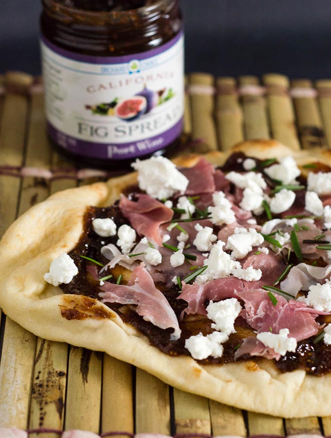 Fig, Goat Cheese and Prosciutto Na'an Pizza
