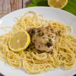 Chicken piccata, ready in under 30 minutes! This dish uses quick-cooking chicken thighs instead of pounded-thin breasts, and skips the flour coating. #SundaySupper