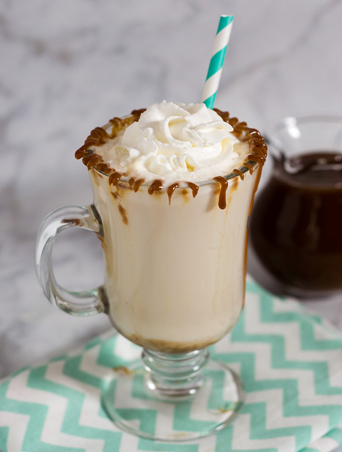 Cold winter day? Warm up with a salted caramel steamer -- warmed milk flavored with homemade salted caramel sauce. Kids and adults alike will love it!