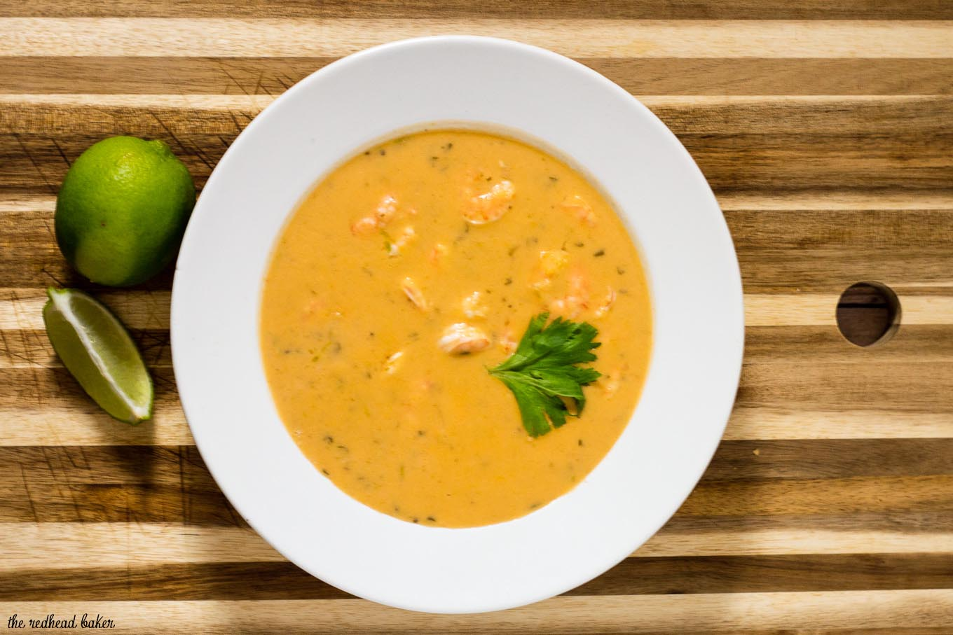 Thai shrimp bisque is a thick, creamy soup without the cream! This soup has so much complex flavor, you don't even realize it's healthy!