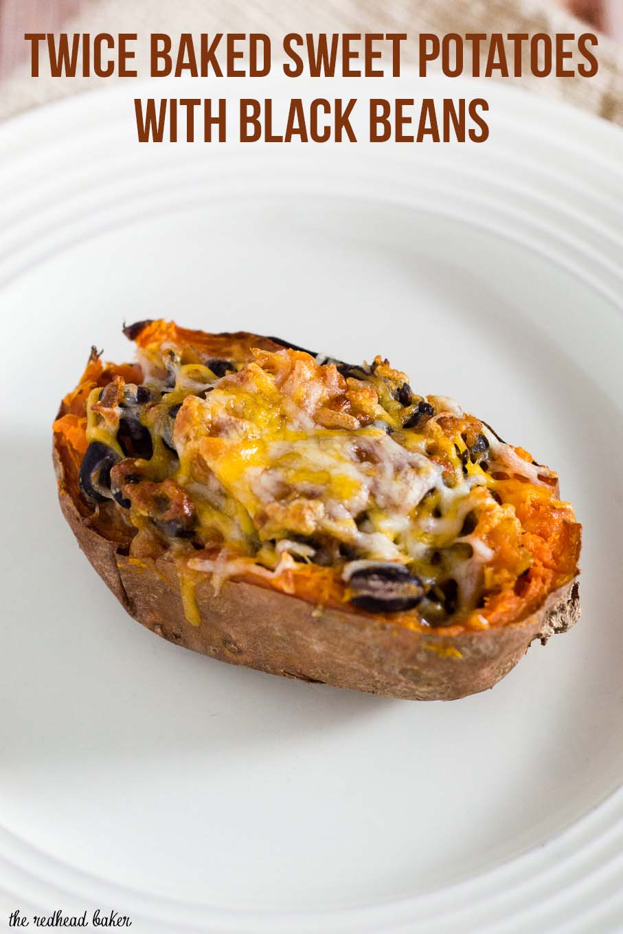Twice-baked sweet potatoes are stuffed with a mixture of mashed sweet potatoes, black beans, onion, garlic and spices, and topped with melty Borden® Cheese for a healthier vegetarian dinner. #BordenCheeseLove #Ad