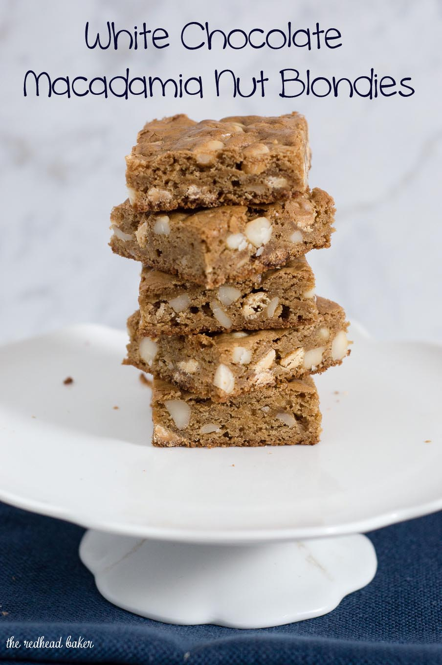 Blondies are sweet bars similar to brownies, but without the cocoa. These blondies are loaded with white chocolate chips and macadamia nuts.
