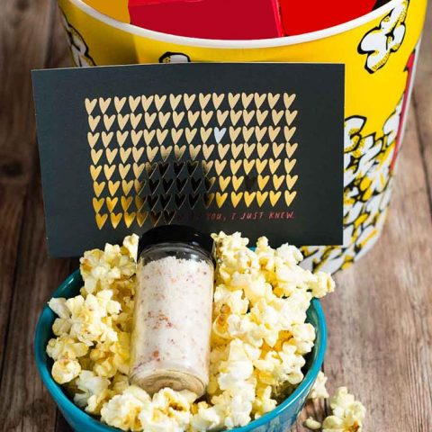 Is your sweetie a movie buff? Show them you care this Valentine's Day with a Movie Night In gift box, with a homemade container of Parmesan bacon popcorn salt and a Hallmark Signature Valentine's Day card!