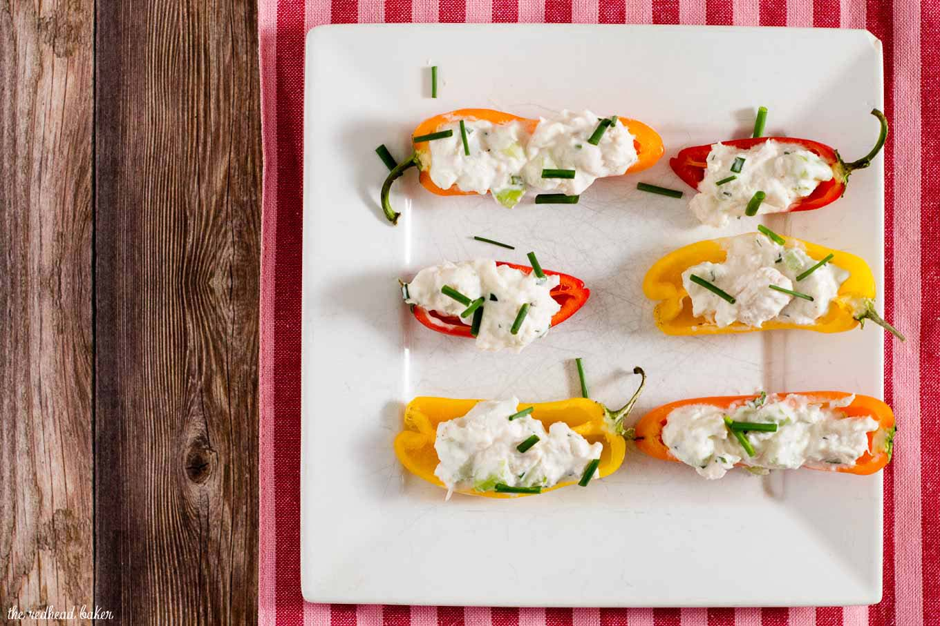 Need a last-minute Valentine's Day appetizer? Try these crab salad stuffed mini peppers! They have complex flavor and don't require any cooking!