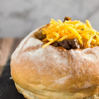 Philly Cheesesteak Chili in a Bread Bowl