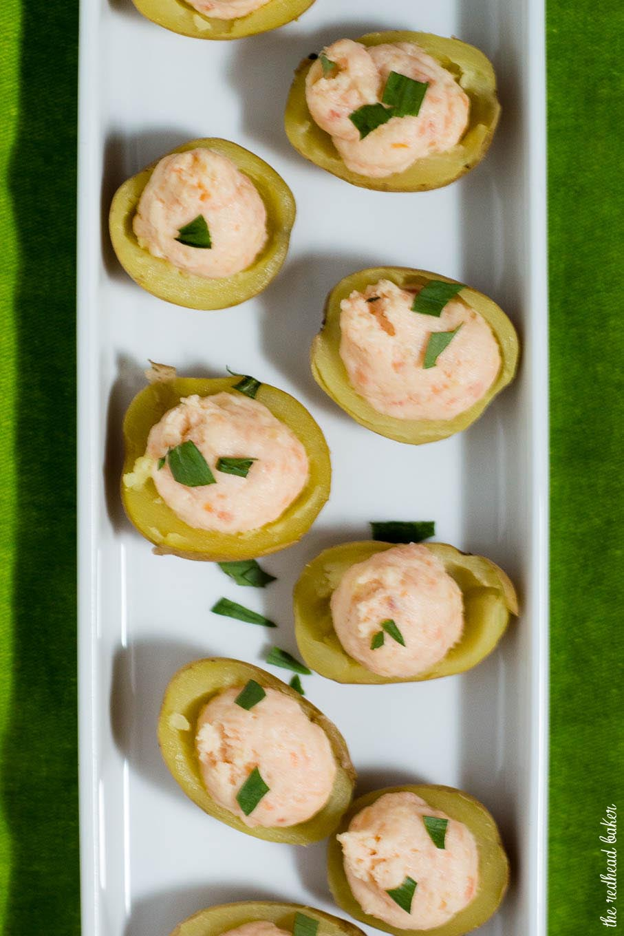 Celebrate St. Patrick's Day with smoked salmon stuffed potatoes. These appetizers are little pots of gold stuffed with delicious filling! #ProgressiveEats