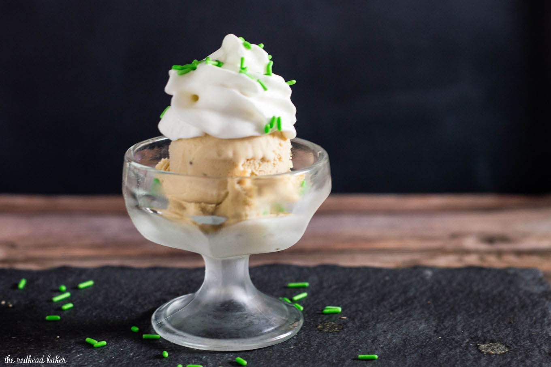 What's better than Irish cream? Irish cream ice cream with a chocolate swirl! Irish cream is blended into custard and churned, then melted chocolate is swirled into the ice cream.
