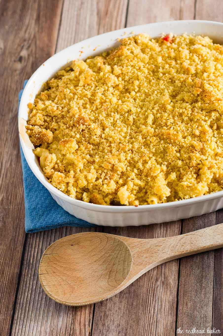 Southwestern mac and cheese is chock full of tex-mex flavors, contrasting textures, and a hint of spicy pepper, with a sweet buttery cornbread topping.
