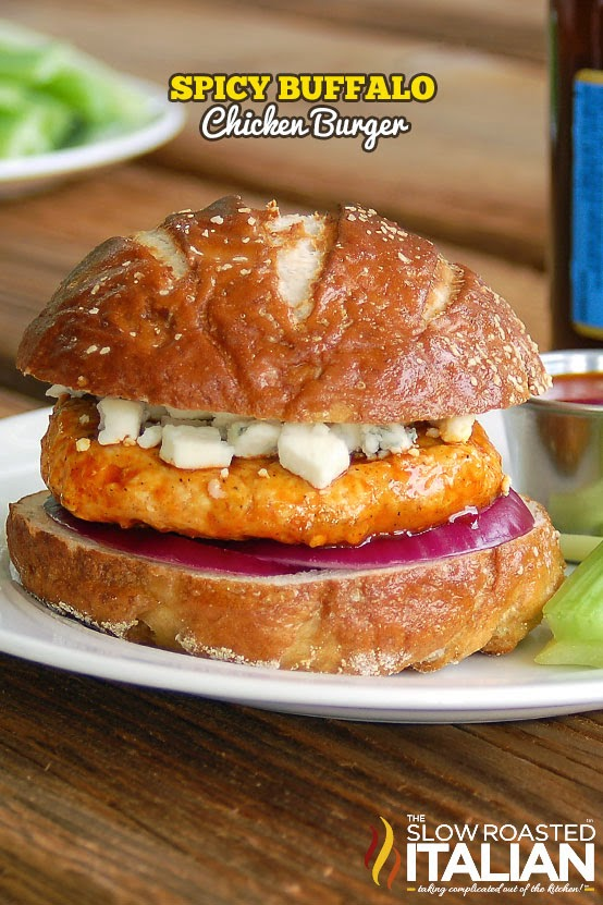 Spicy Buffalo Chicken Burger by The Slow Roasted Italian