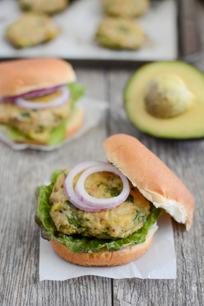 Avocado Chicken Burgers by The Lean Green Bean