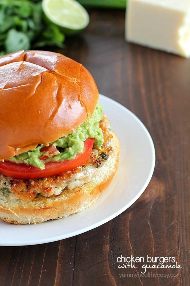 Guacamole Chicken Burgers by Yummy Healthy Easy