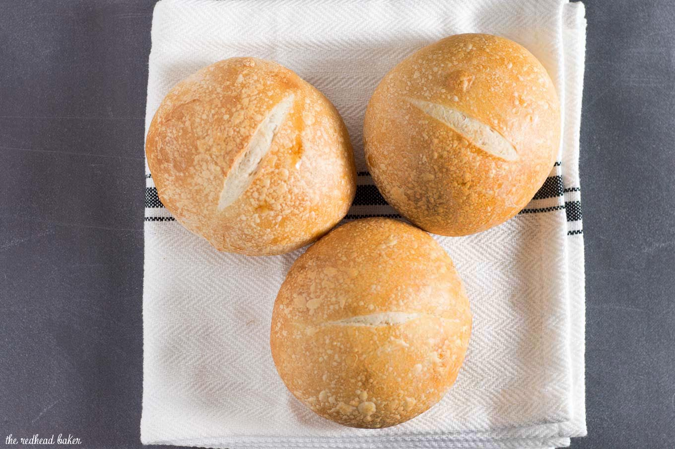 Crusty French rolls get their texture from a long rise in the refrigerator. Make them small to serve with dinner, or larger to hold a sandwich or burger.